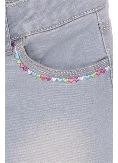 Silversun Kids Kız Çocuk Açık Denim Kalp Işlemeli Cepli Örme Şort Sc 216068 Mavi